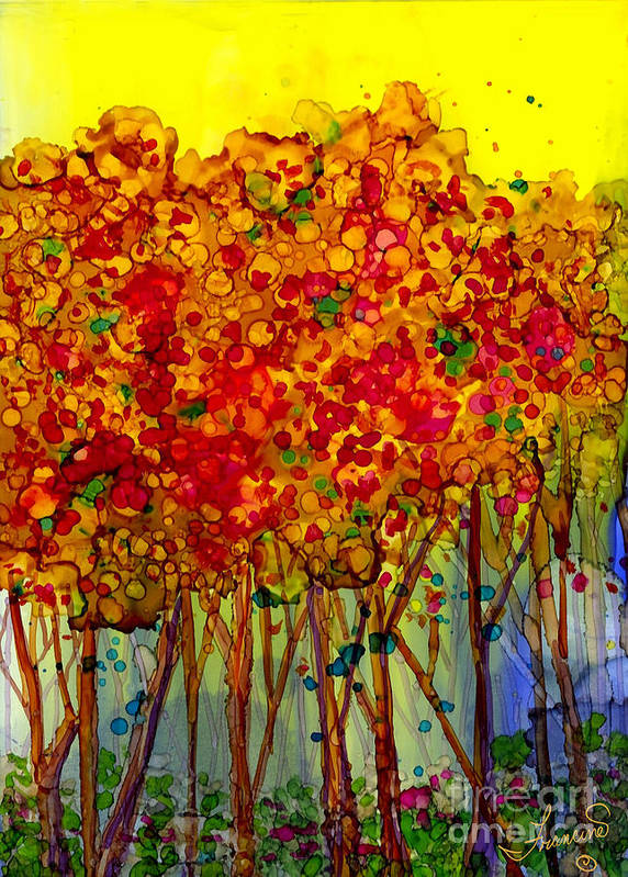 Orange Poster featuring the mixed media Happy Trees by Francine Dufour Jones