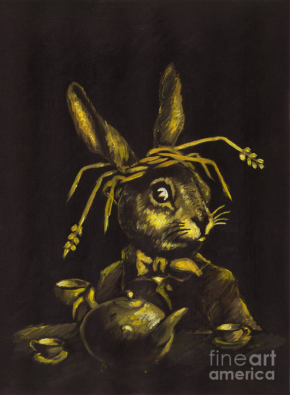 Oil Painting Poster featuring the painting Hare by Suzette Broad