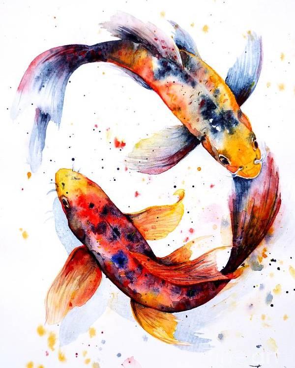 Koi Poster featuring the painting Harmony by Zaira Dzhaubaeva