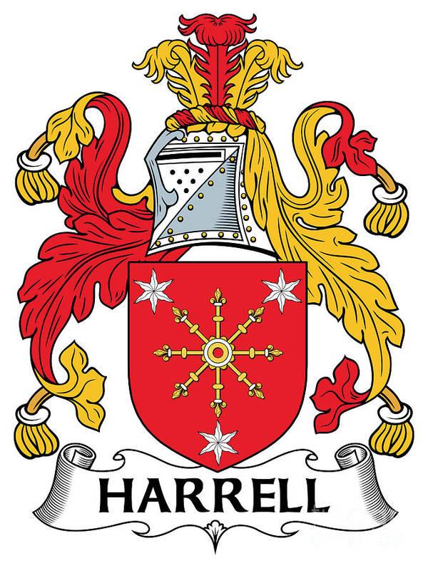 Harrell Poster featuring the digital art Harrell Coat Of Arms Irish by Heraldry