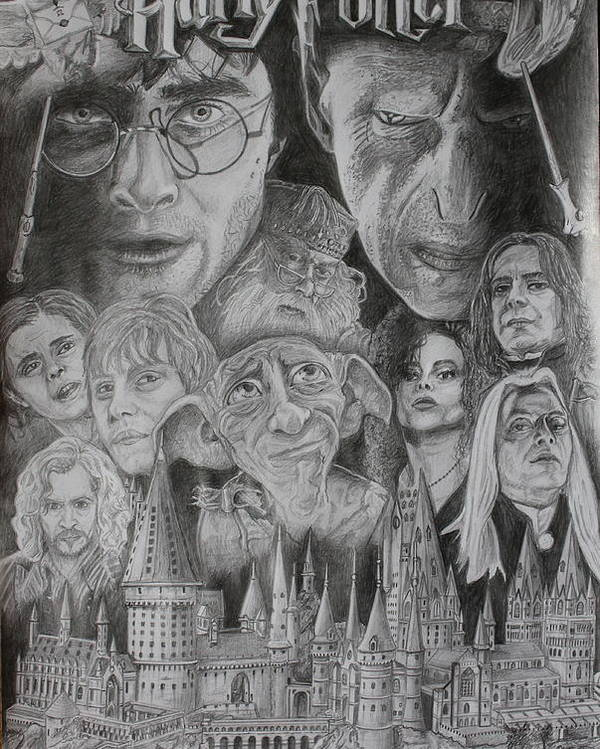 Harry Potter Montage Graphite Pencil J.k.rowling Hogwarts Castle Voldemort Hermione Granger Ron Weasley Sirius Black Dobby Bellatriz Lestrange Lucius Malfoy Severus Snape Snake Owl Professor Dumbledore. Poster featuring the drawing Harry Potter Montage by Mark Harris