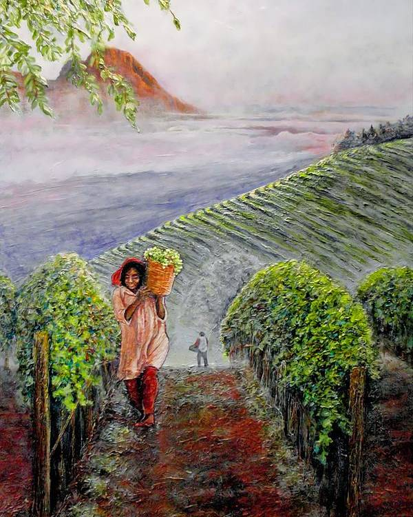 Vineyard Poster featuring the painting Harvest At Dawn by Michael Durst