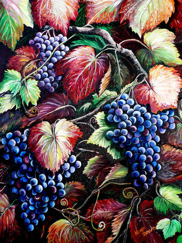 Grapes Painting Poster featuring the painting Harvest Time by Karin Dawn Kelshall- Best