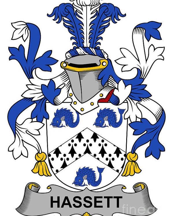 Hassett Poster featuring the digital art Hassett Coat Of Arms Irish by Heraldry