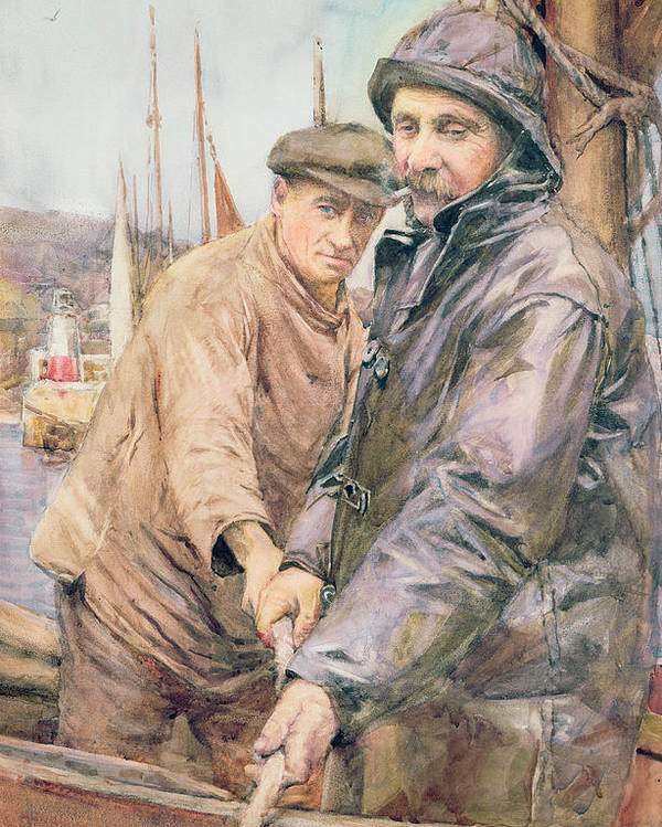 Cornish Poster featuring the drawing Hauling In The Net by Henry Meynell Rheam
