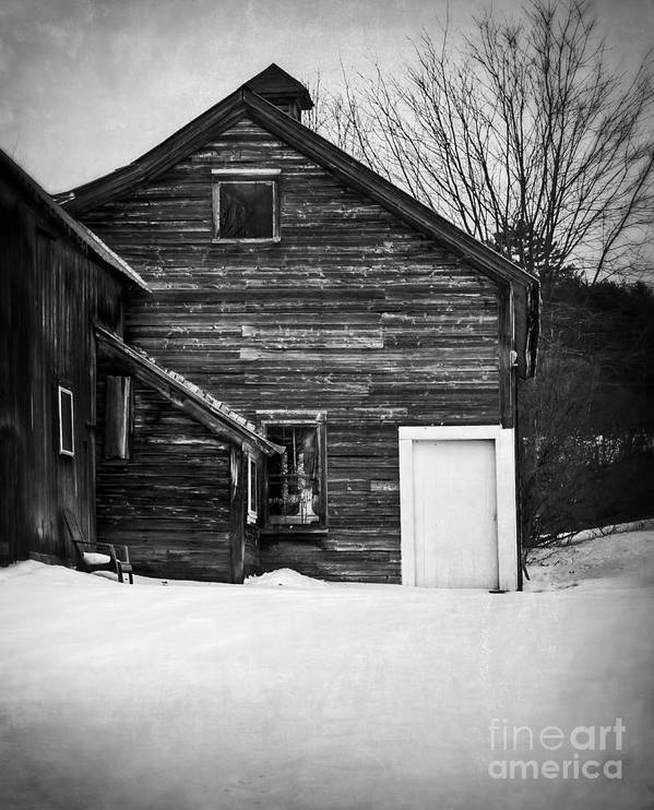 Snow Poster featuring the photograph Haunted Old House by Edward Fielding