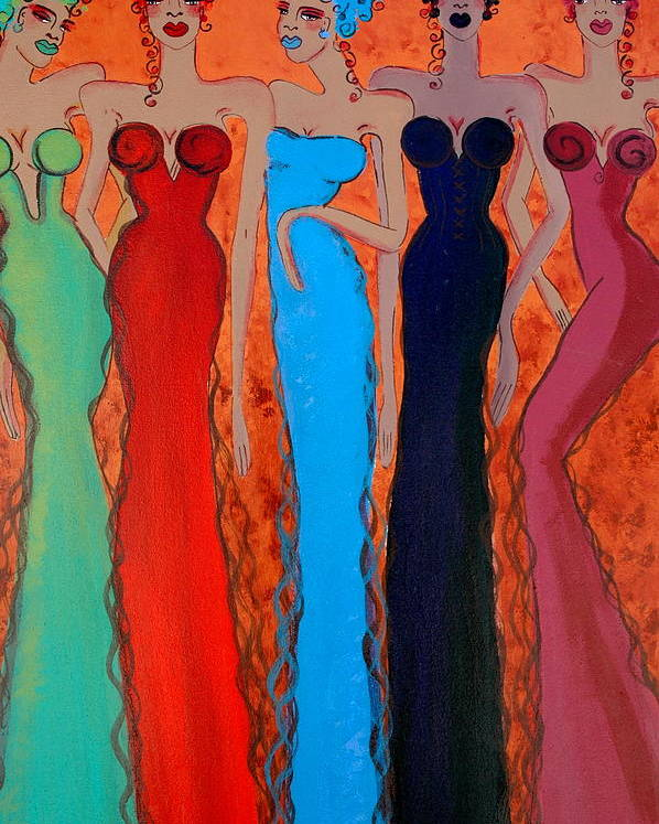 Sisters Poster featuring the painting Haute Colours by Helen Gerro