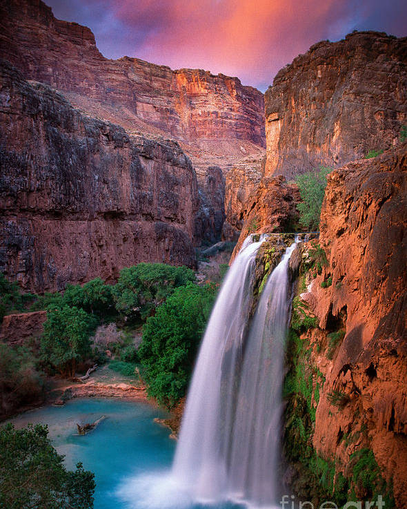 America Poster featuring the photograph Havasu Falls by Inge Johnsson