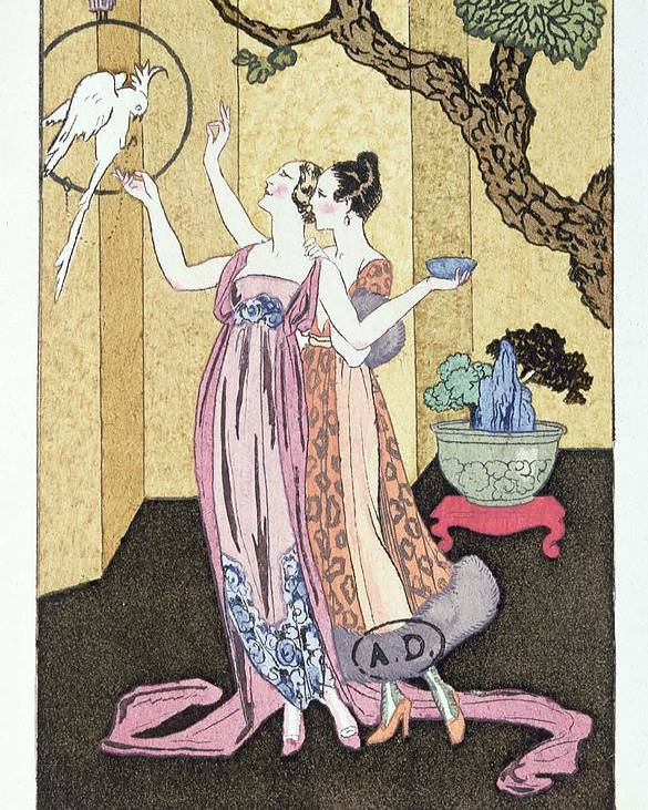 Parrot Poster featuring the painting Have You Had A Good Dinner Jacquot? by Georges Barbier