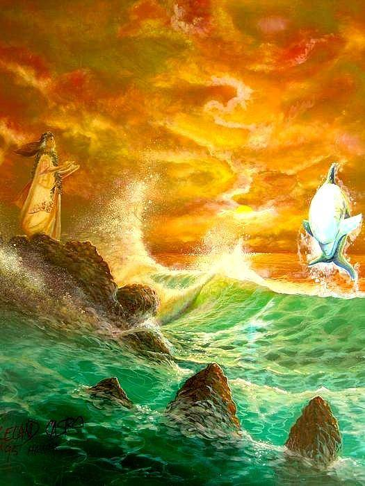 Hawaii Seascape Poster featuring the painting Hawaiian Spirit Seascape by Leland Castro