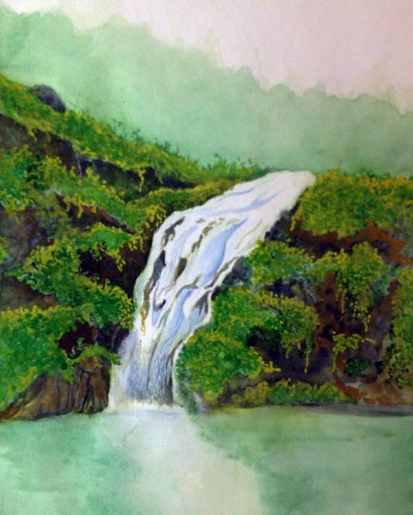 Rick Huotari Poster featuring the painting Hawaiian Waterfall by Rick Huotari