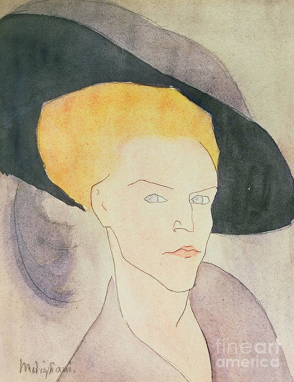 Feather Poster featuring the painting Head Of A Woman Wearing A Hat by Amedeo Modigliani
