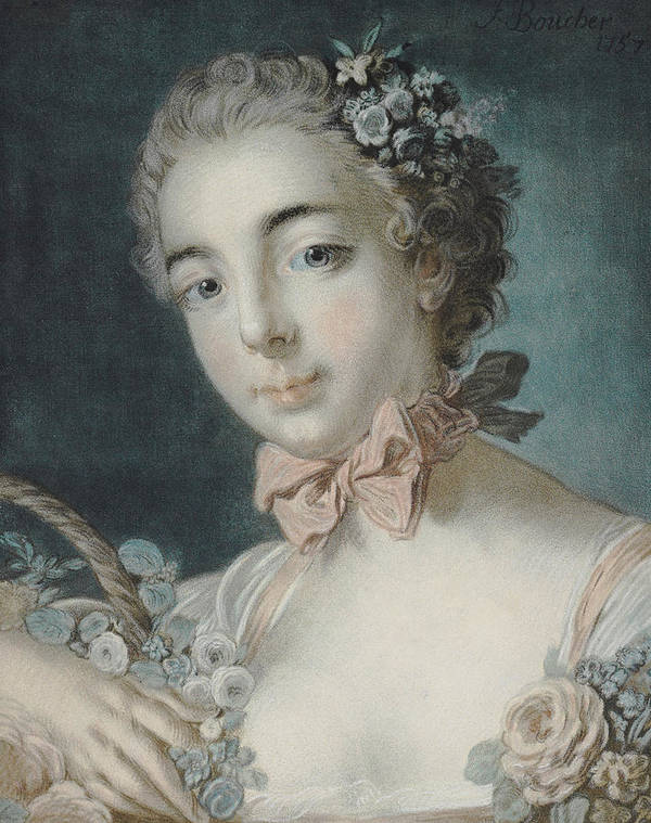 Flora Poster featuring the pastel Head Of Flora by Francois Boucher