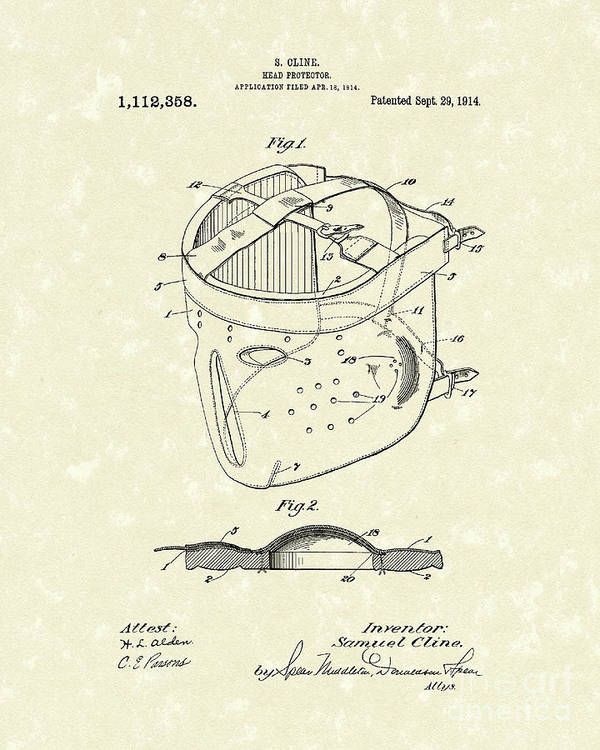 Cline Poster featuring the drawing Head Protector 1914 Patent Art by Prior Art Design