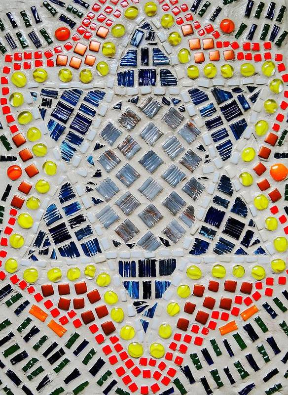 Mosaic Poster featuring the relief Healing Star by Lisa Brandel