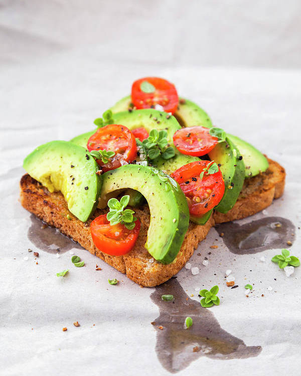 Rosario Poster featuring the photograph Healthy Toast With Avocado And Cherry by Flavia Morlachetti