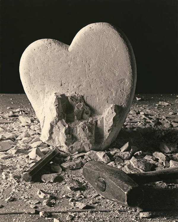 Valentines Day Poster featuring the sculpture Heart Of Stone C1978 by Paul Ashby