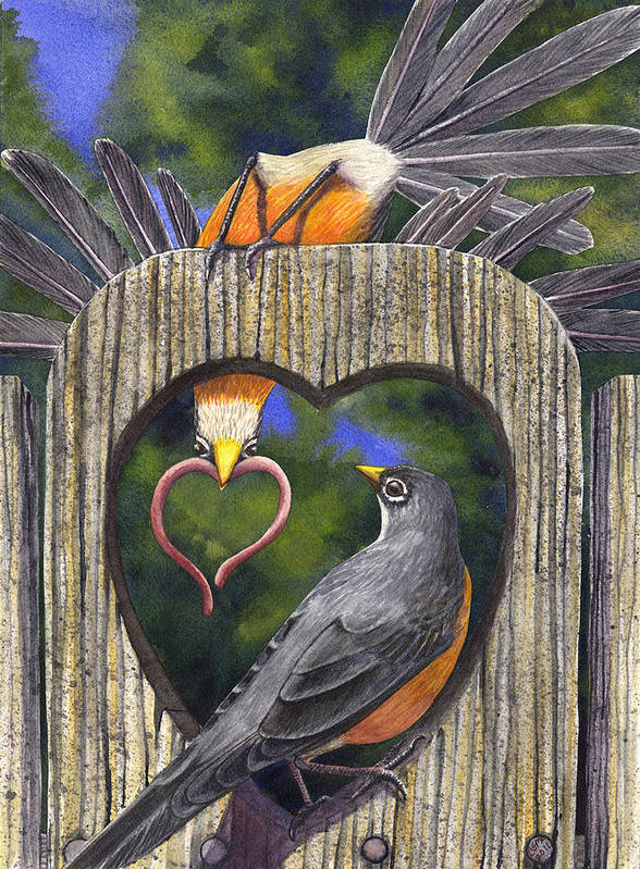 Robin Poster featuring the painting Heartfelt by Catherine G McElroy