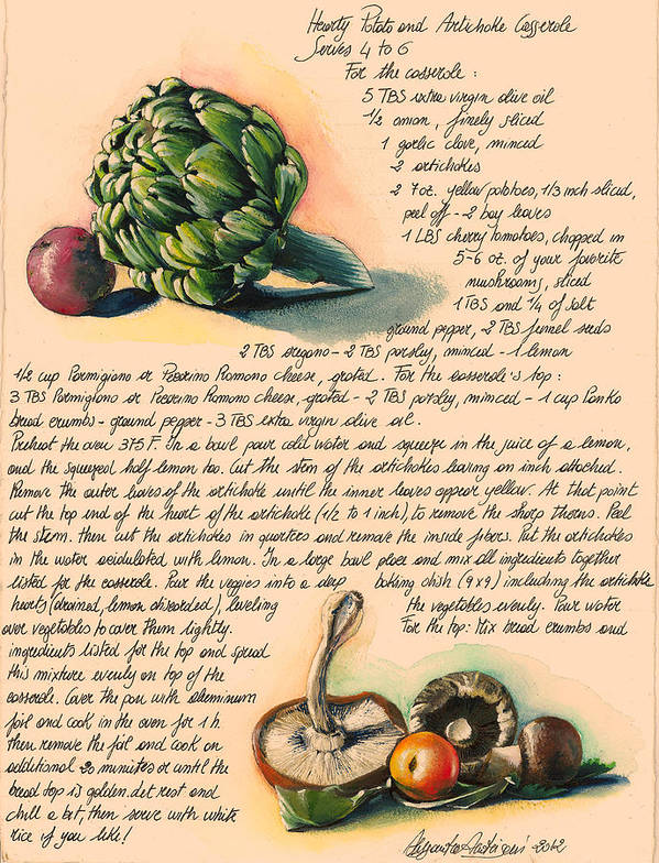 Green Poster featuring the painting Hearty Casserole by Alessandra Andrisani