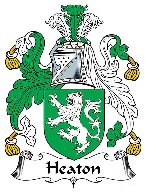 Heaton Poster featuring the digital art Heaton Coat Of Arms Irish by Heraldry