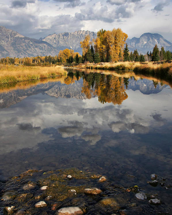 Grand Tetons; Rocky Mountains; River; Pond; Reflections; Autumn; Fall; Trees; Leaves; Gold; Orange; Storm; Clouds; Dramatic; Stormy; Golden; Grass; Pine; Rocks; Pebbles Poster featuring the photograph Heaven And Earth by Leda Robertson