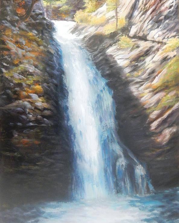 Landscape Poster featuring the painting Hell Roaring Falls by Patti Gordon