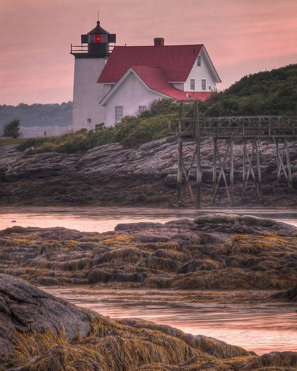 Hendricks Poster featuring the photograph Hendricks Head Light At Sunset - Portrait by At Lands End Photography