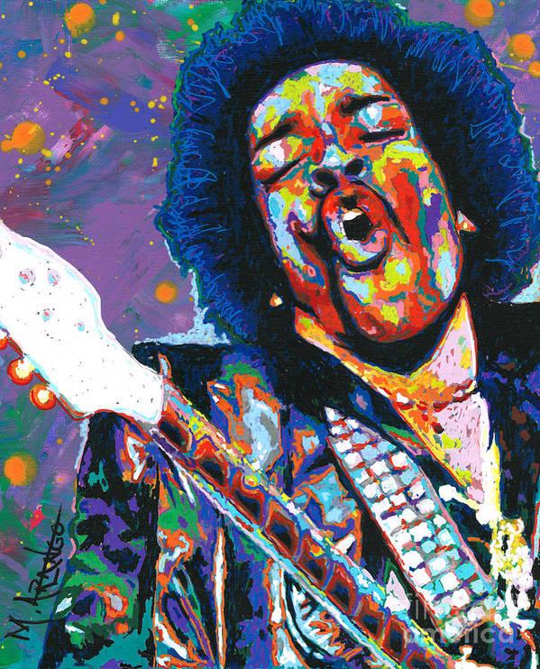 Jimi Hendrix Poster featuring the painting Hendrix by Maria Arango