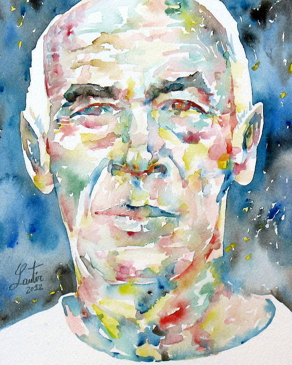 Henry Poster featuring the painting Henry Miller Portrait.1 by Fabrizio Cassetta