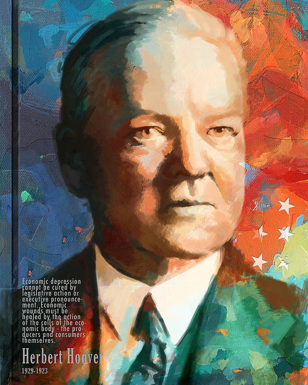 Herbert Hoover Poster featuring the painting Herbert Hoover by Corporate Art Task Force