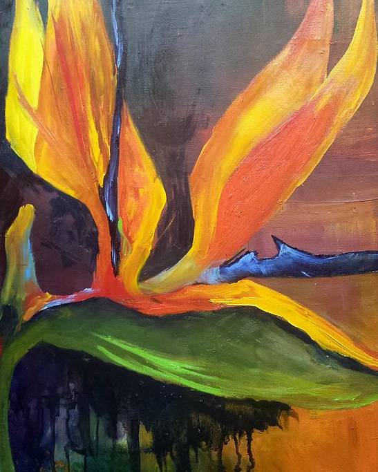 Bird Of Paradise Poster featuring the painting Here I Am Bird of Paradise by Barbara Haviland