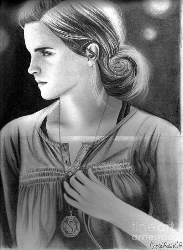 Hermione Granger Poster featuring the drawing Hermione Granger by Crystal Rosene