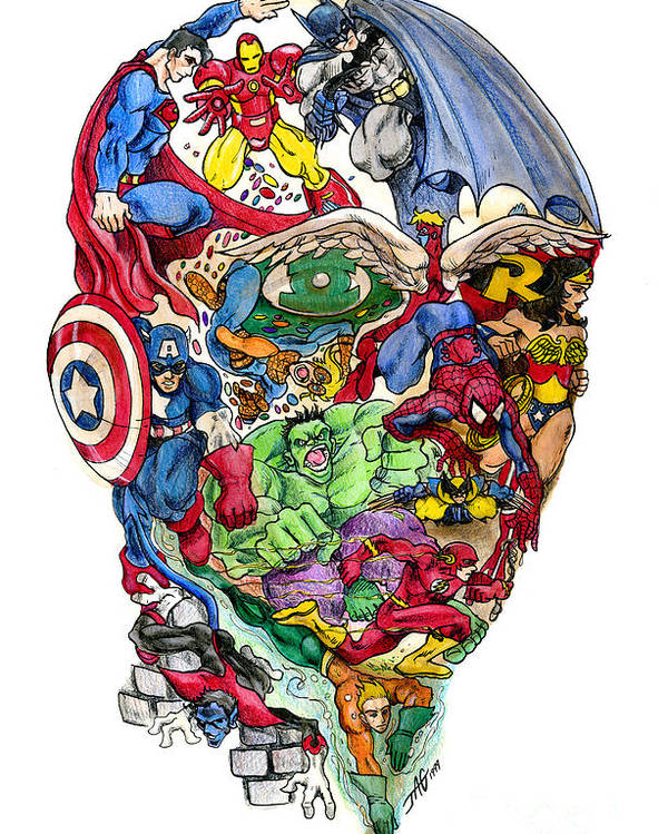 Surreal Poster featuring the drawing Heroic Mind by John Ashton Golden