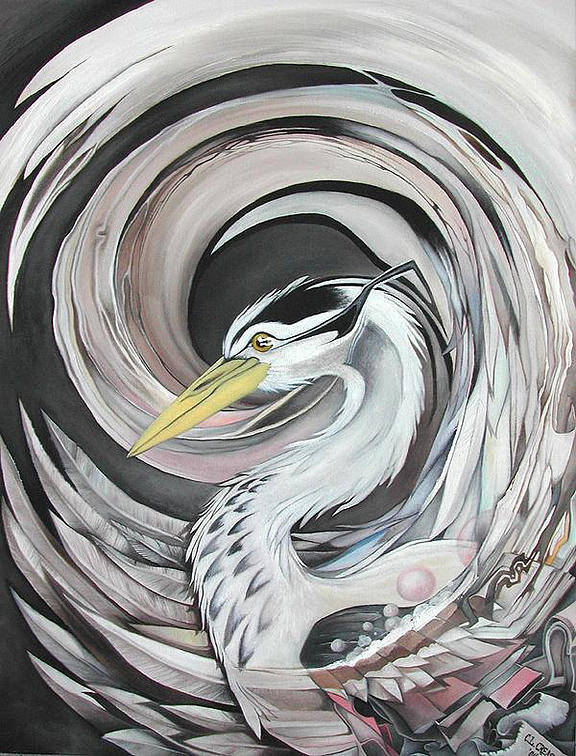 Heron Poster featuring the painting Heron by Charles Creasy Jr