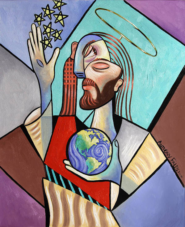 Jesus Poster featuring the painting Hes Got The Whole World In His Hand by Anthony Falbo