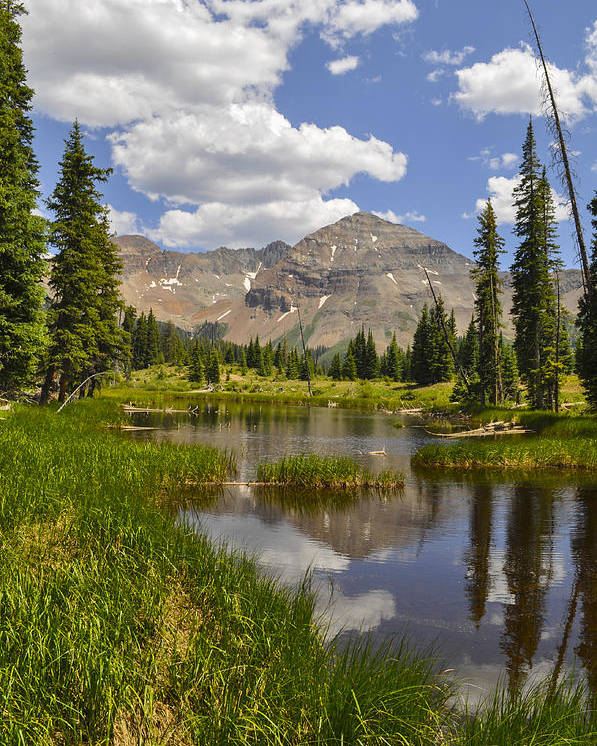Colorado Poster featuring the photograph Hesperus Mountain Reflection by Aaron Spong