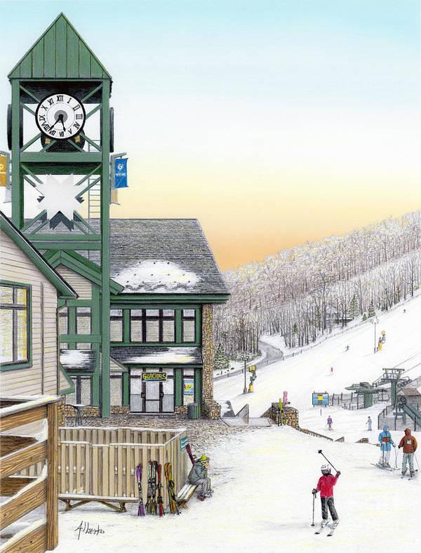 Hidden Valley Poster featuring the painting Hidden Valley Ski Resort by Albert Puskaric