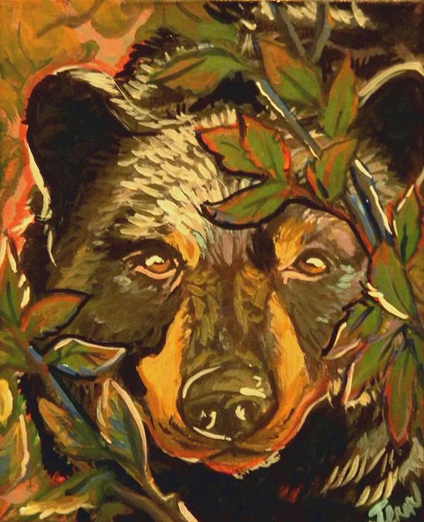 Black Bear Poster featuring the painting Hiding Bear by Jenn Cunningham