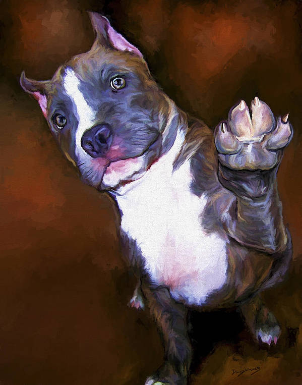 Pit Bull Poster featuring the painting High Four by David Wagner