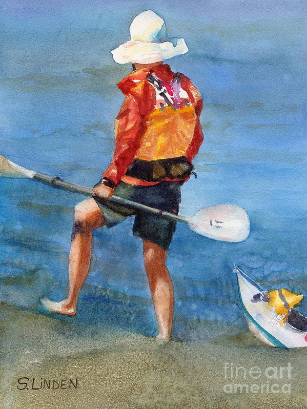 Portraits - Man- Kayaker - Boats - Boating Poster featuring the painting High Ground by Sandy Linden