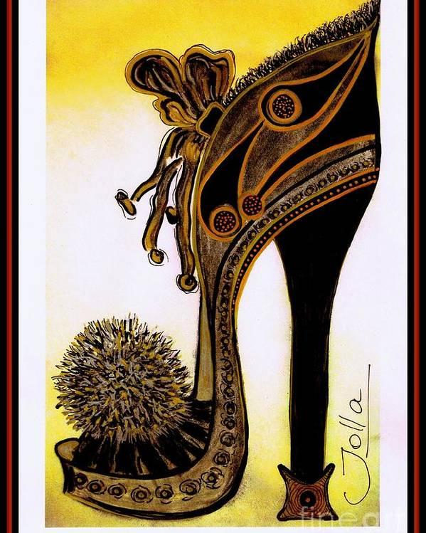 Shoe Poster featuring the painting High Heel Heaven by Jolanta Anna Karolska