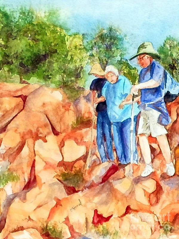 Hiking Poster featuring the painting Hiking Apparition Hill Medjugorje by Vicki Housel