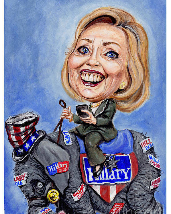 Hillary Clinton Poster featuring the painting Hillary Clinton 2016 by Mark Tavares