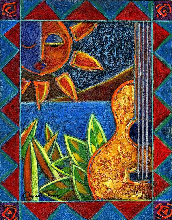 Guitar Poster featuring the painting Hispanic Heritage by Oscar Ortiz