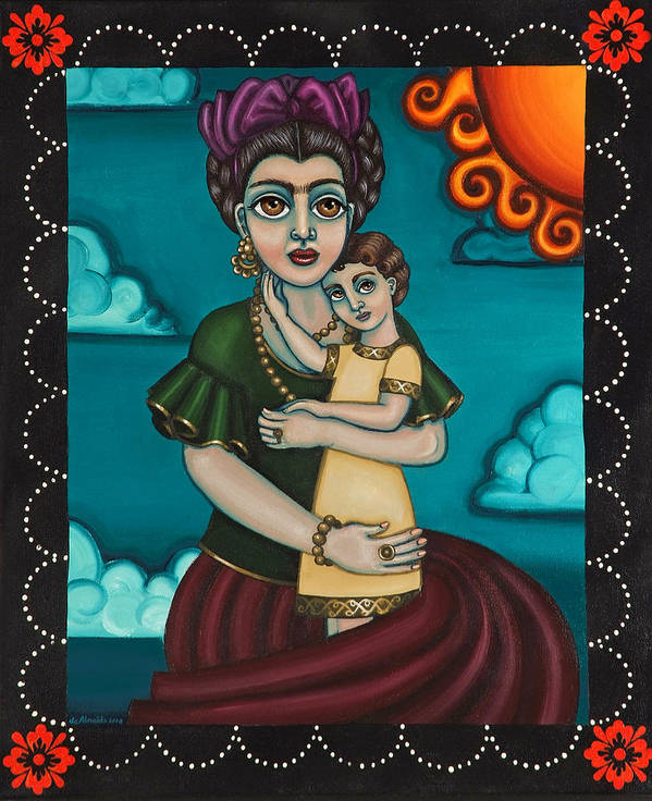 Folk Art Poster featuring the painting Holding Diegito by Victoria De Almeida