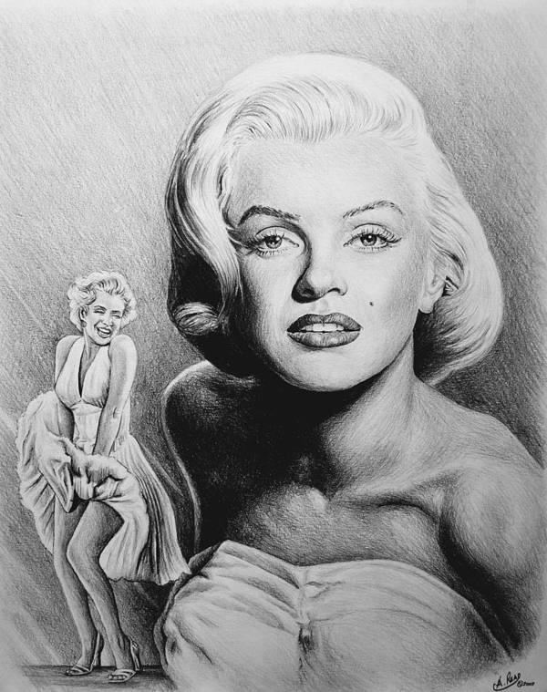 Marilyn Monroe Poster featuring the drawing Hollywood Greats by Andrew Read