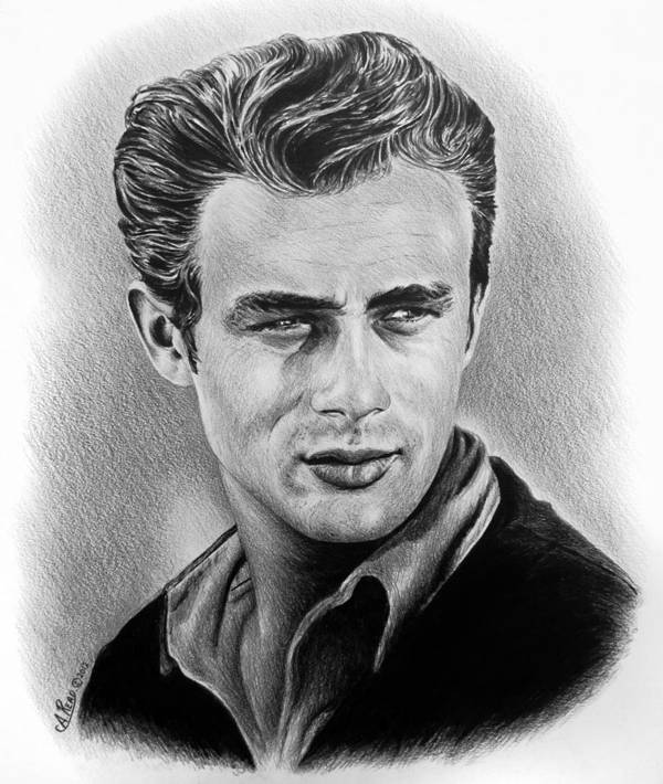 Portraits Poster featuring the drawing Hollywood Greats James Dean by Andrew Read
