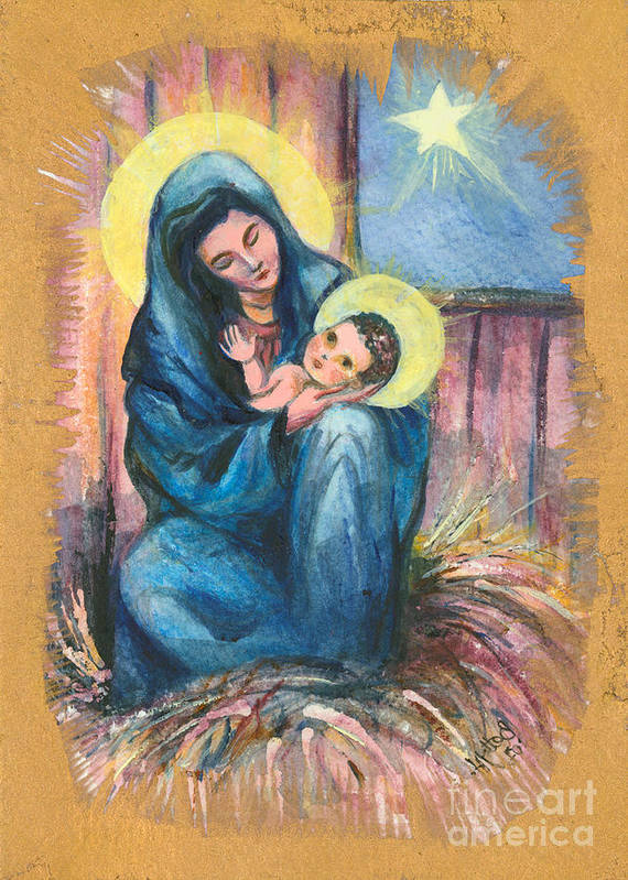 Christmas Greeting Cards Poster featuring the painting Holy Christmas No. 1 by Elisabeta Hermann