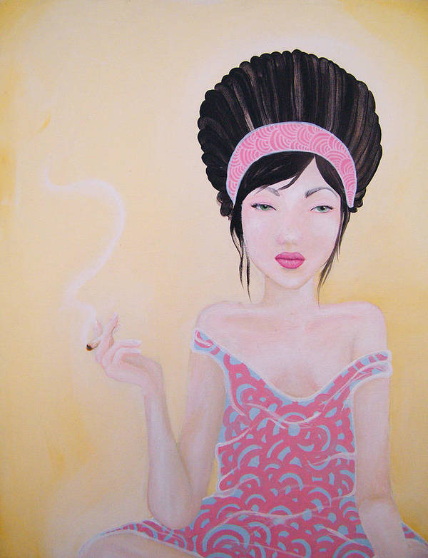 Smoking Poster featuring the painting Holy Smokes by Trish Cataldo