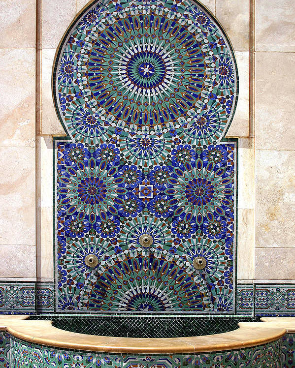 Holy Water Fountain Poster featuring the photograph Holy Water Fountain Hassan II Mosque Sour Jdid Casablanca Morocco by PIXELS XPOSED Ralph A Ledergerber Photography